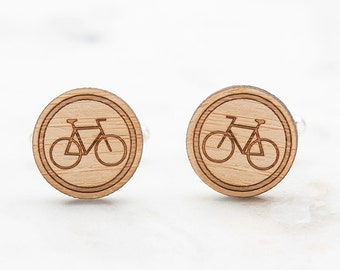 Bicycle Cufflinks - Cyclist Cufflinks - Bike Cufflinks - Wood Cufflinks - Cool and Unique Gifts for Men - Birthday Gift for Men