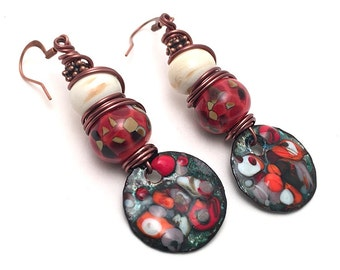 Party Time Lampwork Glass Earrings - Enameled Copper Earrings - Ivory & Red Earrings - Antiqued Copper Earrings - Wire Wrapped Earrings