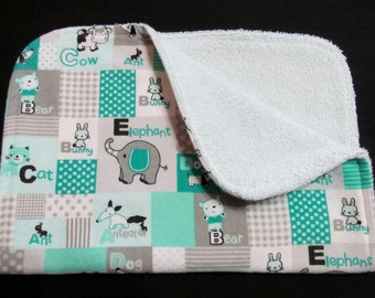 Burp Cloth with ABC Animals, Gender Neutral Burp Cloth, Flannel and Terry Cloth Burp Cloth