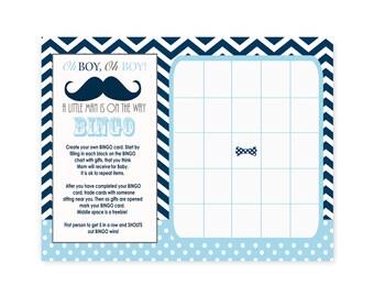 Mustache Baby Shower Bingo Game Card Printable -- Boys Bow Tie Baby Bingo Shower Activity Card -- Instant Download Navy Chevron Baby Shower