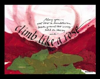 rose calligraphy print 14 x 11