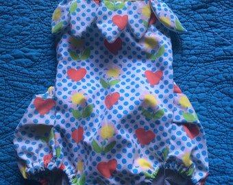 Handmade vintage inspired petal romper with polka dot heart and flower pattern fabric order 12m - 4t