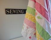 Rag Quilt - Pink Quilt - Large Throw - Handmade