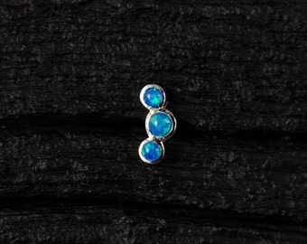 Skyblue Opal 3 stones curved push in 16g bio flexible tragus / cartilage / conch ear piercing (1pc)