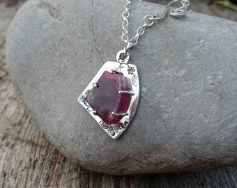 Pink tourmaline & sterling silver pendant.
