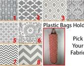 Plastic Bag Holder, Grocery bag holder, plastic bag dispenser, bags organizer- PICK YOUR FABRIC- Grey Patterns