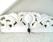 Vintage Coat Rack Carved Wood White