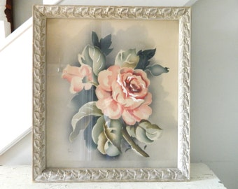 Vintage Floral Print Wood Frame Cottage Farmhouse Shabby Chic