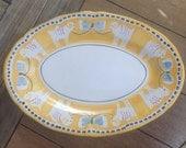 "Solimene Italian Vietri Yellow Pottery Oval Platter 16"" Long"