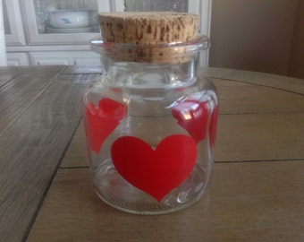 Vintage Keller Charles Heart Jar with large Cork LId