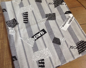 Jersey Knit T-Shirt Fabric With Black, Gray and White Paris Print and French Writing