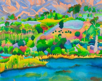 Santa Barbara Bird Refuge Watercolor Painting, California Lake with Mountains Nature Fine Art Print