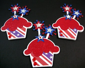 Memorial Day Paper Cupcake Scrapbook Embellishment, Cupake Card Topper, Patriotic Embellishment