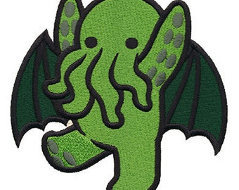 Cute Cthulhu Iron On Patch - H.P. Lovecraft, Goth, Punk - Poofhawk