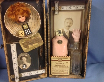 Vintage eclectic 3-D antique assemblage collage display box