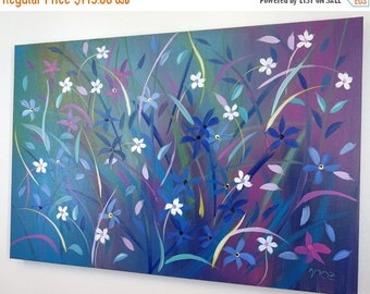 SALE 20% OFF Large Modern Blue Abstract Wildflower Painting on Canvas Contemporary Small Flowers Vivid colorful Landscape 24x36 JMichael