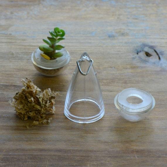 1  - Drop Shape Miniature Terrarium Container Kit Grow Your Own Live Plant Charm Green House Pendant Terrarium Supplies Jewelry Supplies
