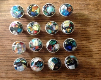 Dichroic glass insert cabinet knobs  or drawer pulls (C)