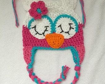 Sleepy owl hat, sleeping owl hat, crochet owl  hat, owl hat, crochet kids hat, custom colors