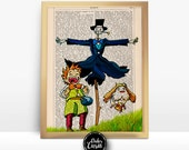 Markel and Turnip Head Howls Moving Castle Print on an Upcycled Unframed Bookpage