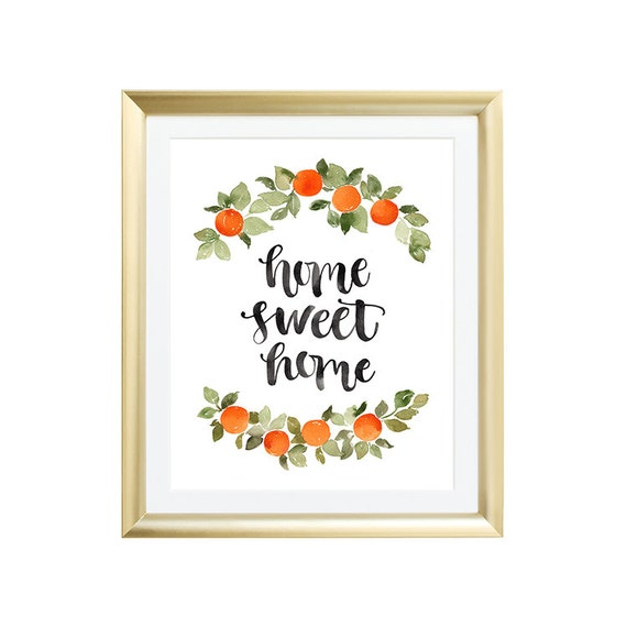 Home decor wall art home sweet home watercolor Home sweet home wall decor
