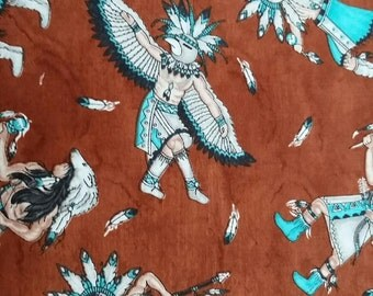 Native  American Dancer Wild West Indian Geometric Print Fabric By the Yard