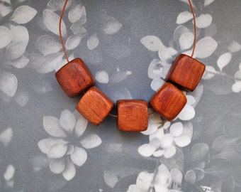 Square wooden beads-5 pieces