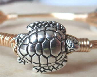 "SIlver and Gold Turtle Bangle Bracelet  ""Bourbon and Bowties"" Inspired"