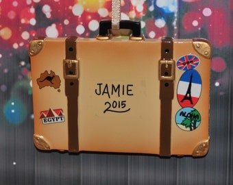 Personalized World Traveler Trunk Suitcase Christmas Ornament