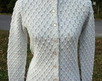 Vintage Metallic Grey Cardigan Silver Metallic Sweater Scalloped Knobby Knit Fall Winter Fashion Jumper Knitwear