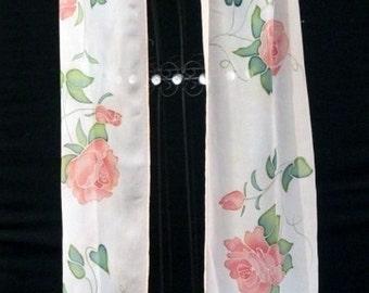 Peach Roses Silk Scarf