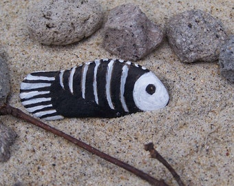 Fish bones, hand  painted rock, fairy garden miniatures, fairy garden accessories, dolls & miniatures, earthspalette