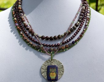 3695n Five Strand Boho Serpentine, Aventurine and Pearl Necklace Featuring Owl Focal Bead and Stamped Pewter Pendant