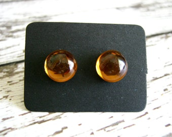 Amber Glass Stud Earrings : Honey Post Jewelry