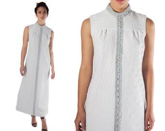 70s maxi dress long white  boho wedding dress mock turtle neck silver embossed M L 60s mod bride shift hostess dress