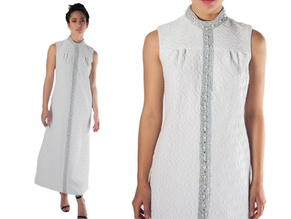 70s maxi dress long white  boho wedding dress mock turtle neck silver embossed M L 60s mod bride shift hostess dress