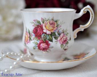 "Paragon ""Flower Festival"" Teacup and Saucer Set, English Bone China Tea Cup Set, Replacement China, Tea Party, ca. 1952-1963"