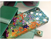 """iPhone 5/5S, 6/6S, 6PLUS Case, Gustav Klimt's """"Bauerngarten"""" Painting. Flowers, Red and Green"""