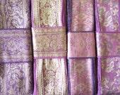 Purple Mauve Brocade Sari borders, Sari Trim SR464