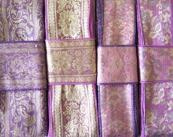 Purple Mauve Brocade Sari borders, Sari Trim SR464