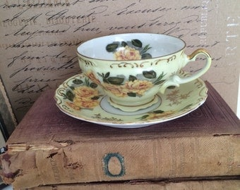 Vintage Lefton China Tea Cup and Saucer Hand Painted Yellow Rose