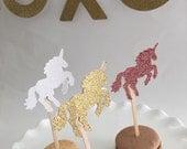 12 - Unicorn Cupcake Toppers | Gold Glitter | White Glitter | Pink Glitter | Unicorn Party Decor | Unicorn Birthday