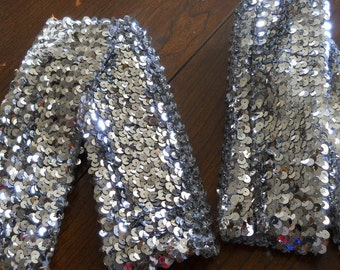 silver squins leg or arm bands great for Dancers, twirlers or skaters