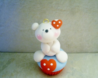 Polar Bear - Cupcake - Polymer Clay - Holiday Ornament