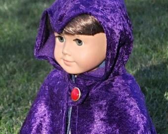 "Raven Teen Titans inspired Cloak / Cape for American Girl 18"" Doll Crushed Velvet Purple or Navy Cosplay Super Hero Comic"