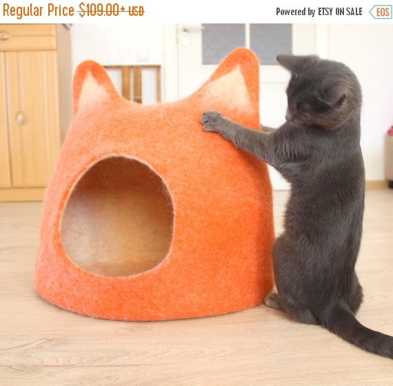 SALE Pet houses - Cat bed - cat cave - cat house - pets storage handmade felted wool cat bed - orange with natural white - made to order