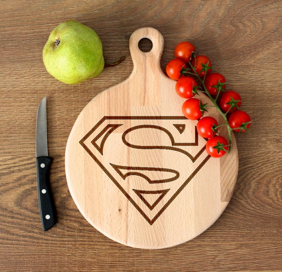 Comic Superhero cutting board -  Superman Wooden Cutting Board Laser Engraved - Personalized Engraved Cutting Board