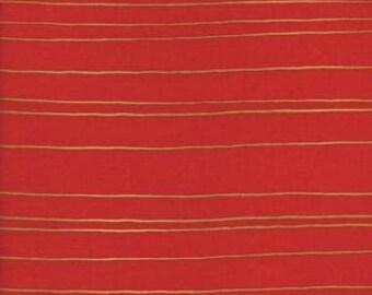 Fruit Dots - Gold Stripe in Orange Metallic - 0031-3 - Melody Miller for Cotton + Steel - HALF YARD