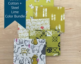Cotton + Steel - Limited Edition Cotton + Steel Lime Color Fat Quarter Bundle (CSLIME) - 5 prints