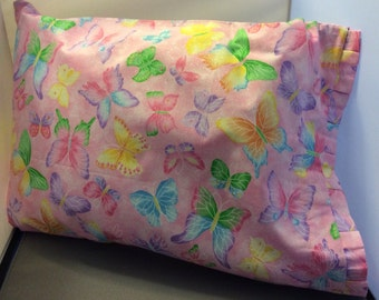 Hand made pink with multi colors butterfly glitter cotton pillow case with box pleat edge for toddler girl - Sale
